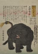 SHIGEHIRO (act. ca. 1850-70), Tenjiku marakakoku dai zō no zu (View of the Great Elephant from Maruka, India)