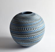 "Ogata Kamio (b. 1949), Neriage (marbleized) vessel with carved, ridged surface titled ""Rinpa"""
