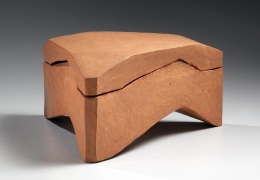 Bizen sculptural triangular box, ca. 1970, Japanese contemporary ceramics, modern, sculpture