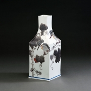 Square vessel with raised narrow neck decorated with greater pied kingfishers and wild grape vine, 2017