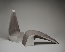 Hoshino Kayoko, pair of arched sculptures with silver glaze and metal file-impressed surfaces, 2011, impressed stoneware with silver glaze, Japanese sculpture, Japanese ceramics, Japanese pottery, Japanese vessel, Japanese contemporary ceramics