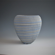 "Ogata Kamio (b. 1949), Neriage (marbleized) conical vessel with carved, ridged surface titled ""Abyss"""
