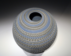 "Ogata Kamio (b. 1949), Neriage (marbleized) vessel with carved, ridged surface titled "" Rinpa"""