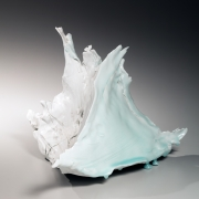 Kato, Tsubusa, Kato Tsubusa, triangular, sculpture, standing, sharp, protruding, edges, ice, glacier, dripping, 2015, seihakuji, white, blue, porcelain, glazed, Japanese, Japan, ceramics, contemporary, Japanese ceramics, sankaku, kokoro, heart, clay, pottery