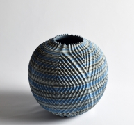 """Marbleized, carved, ridged-surface vessel """"Waves"""", 2019"""