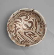 Matsui Kōsei (1927-2003), Neriage (marbleized) teabowl in white, brown and cream colored clay