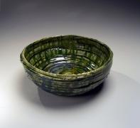 Okabe Mineo (1919-1990), Mino ware, Oribe typeround bowl with alternating carved banding
