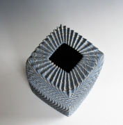 """Ogata Kamio (b. 1949), Neriage (marbleized) vessel with carved, ridged surface titled """"Waves""""2019"""