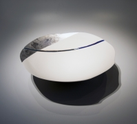 Fukumoto Fuku (b. 1973), Large shallow bowl with silver and blue glazes