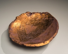 Ogawa, Machiko, copper, glazed, plate, pooling, glaze, incised, repeated, triangular, geometric, pattern, stoneware, pottery, clay, ceramic, japan, japanese, art, contemporary, gallery, mirviss
