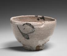 Kawakita Handeishi (1878-1963), Mino ware Shino type round teabowl with high foot and abstract underglaze patterning in iron-oxide
