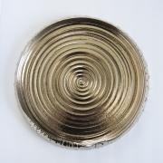 Miwa Hanako (b. 1958), Lotus leaf-shaped platter with interior swirl patterning and metallic glaze