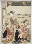 Chōbunsai Eishi (1756-1829), The celebrated high-ranking courtesan, Hanaogi, stands in a room at the well-known Ogiya brothel.