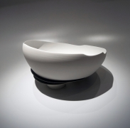 Fukumoto Fuku (b. 1973), Slumped, sectioned bowl with adhering blue glaze