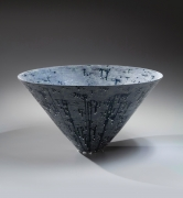 "Coblat-glazed large conical bowl with small flat base and ""silver mist"" overglaze, 2019"