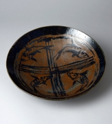 Ishiguro Munemaro, black and persimmon iron-glazed platter, ca. 1959, glazed stoneware, Japanese platter, Japanese ceramics, Japanese pottery, Japanese contemporary ceramics