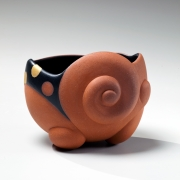 Takemura,Yuri, Takemura Yuri, mysterious, spirit, terracotta, carved, teabowl, black, silver, yellow, swirl, polka, dot, design, matte, glazed, stoneware, contemporary, art, japan, japanese, ceramics, pottery, clay, 2015, contemporary japanese ceramics, gallery, mirviss