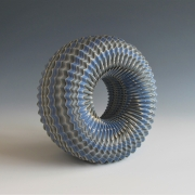 """Ogata Kamio (b. 1949), Neriage(marbleized) vessel with carved, ridged surface titled """"Sky"""""""