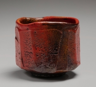 Straigh-sided Tamba teabowl, covered with akadobe(red slip glaze with iron), 2019