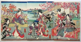Subject: Prince Genji, consort and entourage admire chrysanthemums while seated beneath red maple trees