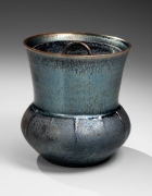 Kamada, Koji, Kamada Koji, waterjar, mizusashi, water jar, tenmoku, silver, black, stoneware, glaze, contemporary, ceramics, Japanese, 2015