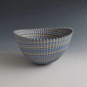 "Ogata Kamio (b. 1949), Neriage (marbleized) bowl with carved, ridged surface titled ""Thorn"""