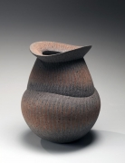 Iguchi Daisuke, vase with metal file-impressed surface, 2011, impressed stoneware, Japanese ceramics, Japanese pottery,Japanese vase