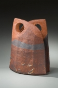 Suzuki Osamu, Japanese glazed stoneware, Japanese ceramic sculpture, Japanese shino-glazed vessel, 1991