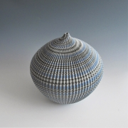 """Ogata Kamio (b. 1949), Neriage (marbleized) vessel with carved, ridged surface titled """"Abyss""""2019"""