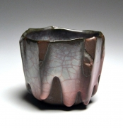 WAKAO KEI (b. 1967), Straight-walled teabowl with unctuous craquelureceladon-glazing flaring to deep pink