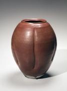 Persimmon-colored iron-glazed lobed ovoid vase, ca. 1959