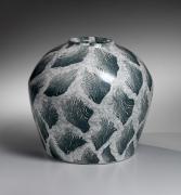 Marbleized vessel with tidal-grass patterning, ca. 1989