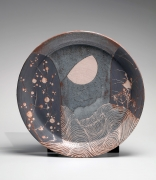 WAKAO TOSHISADA (b. 1933), Nezumi-shino large platter with plum, bamboo in moonlight