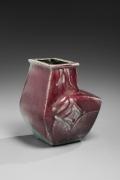 Kawai Kanjirō (1890-1966), Shinsha (copper-red)-glazed flattened vessel