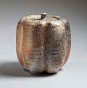 Natural ash-glazed Shigaraki pumpkin-shaped water jar, 1970s