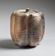 Natural ash-glazedShigarakipumpkin-shaped water jar, 1970s