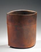 Ichino Masahiko (b. 1961), Akadobe (red-slip)-glazed ovoid vase with pointed sides and scored waist
