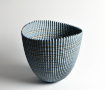 "Ogata Kamio (b. 1949), Neriage (marbleized) vessel with carved, ridged surface titled ""Thorn"""