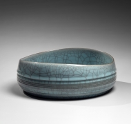 Oval straight-sided pale blue celadon-glazed bowl with irregular rim, 2018