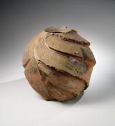Harada Shuroku, Bizen-ware vessel, knife-carved surface, taiko-ishi, inlaid stones, 2006, stoneware, Japanese contemporary ceramics, Japanese vessel, Japanese ceramics, Japanese pottery