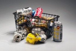 Metal shopping basket with 15 separate beer and soda cans, 2012
