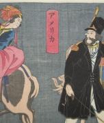 Utagawa Yoshitomi, (act. 1850-60s), Amerika ,1860, Oban yoko-e, Japanese print, Japanese hanga, Japanese Meiji print, America
