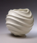 Globular jar with carved undulating ridged body, 2004