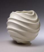 Globular jar with carved undulating ridged body, 2004