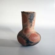 Mori Tōgaku (b. 1937), Stoneware vessel with bulbous base, inlayed red circle patterning and silver