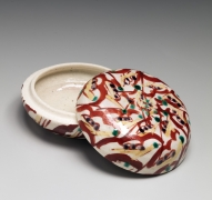 Matsuda Yuriko (b. 1943), Round incense container (kōgō) with red and yellow web-like patterning and green dots