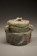 Fujioka Shuhei (b. 1947), Eared water storage jar with lid and natural ash glaze