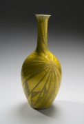 Tall vase with bulbous bottom, long neck, and applied gold foil in a radiating linear pattern, ca. 1980