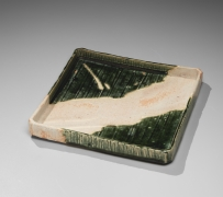 Okabe Mineo (1919-1990), Mino ware, Oribe typestriated, square plate with low straight sides and cut corners