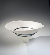 Fukumoto Fuku (b. 1973), Large conical sectioned bowl with adhering blue glaze